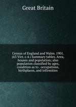 Census of England and Wales. 1901. (63 Vict. c.4.) Summary tables. Area, houses and population; also population classified by ages, condition as to . occupations, birthplaces, and infirmities