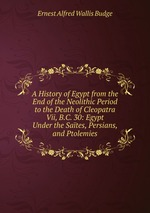 A History of Egypt from the End of the Neolithic Period to the Death of Cleopatra Vii, B.C. 30: Egypt Under the Sates, Persians, and Ptolemies