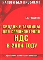 Сводные таблицы для самоконтроля НДС в 2004 году