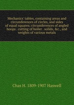 Mechanics` tables, containing areas and circumferences of circles, and sides of equal squares; circumferences of angled hoops . cutting of boiler . solids, &c., and weights of various metals