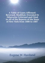 A Table of Cases Affirmed: Reversed, Modified, Overuled Or Otherwise Criticised and Cited in All of the Reports of the State of New York from 1880 to 1887