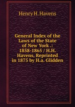 General Index of the Laws of the State of New York .: 1858-1865 / H.H. Havens, Reprinted in 1875 by H.a. Glidden