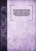 Coleccion De Circulares Expedidas Por La Real Audiencia Pretorial De La Habana Y Demas Disposiciones Relativas a Los Funcionarios Del Orden Judicial De La Isla De Cuba, Volume 3 (Spanish Edition)