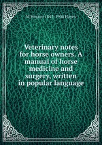 Veterinary notes for horse owners. A manual of horse medicine and surgery, written in popular language