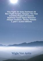 Vita Viglii Ab Aytta Zuichemi Ab Ibso Viglio Scripta, Ejusque: Nec Non Joachimi Hopperi Et Joannis Baptistae Tassii Opera Historica Aliaque Analecta . Divisa, Volume 2,part 1 (Latin Edition)