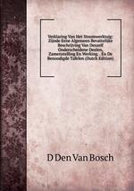 Verklaring Van Het Stoomwerktuig: Zijnde Eene Algemeen Bevattelijke Beschrijving Van Deszelf Onderscheidene Deelen, Zamenstelling En Werking. . En De Benoodigde Tafelen (Dutch Edition)