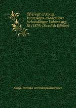 fversigt af Kongl. Vetenskaps-akademiens forhandlingar Volume arg. 36 (1879) (Swedish Edition)