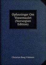 Oplysninger Om Vossemaalet (Norwegian Edition)