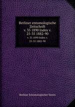 Berliner entomologische Zeitschrift. v. 35 1890 Index v. 25-35 1882-90