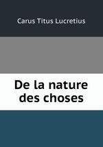 Обложка книги De la nature des choses