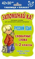 Русский язык. Словарные слова. 1-2 классы. Наглядное пособие для запоминания учебного материала