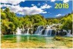 """""""Водопад на реке"""". Настенный трехблочный квартальный календарь на 2018 год с курсором в индивидуальной упаковке (Европакет)"""