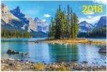 """""""Горное озеро"""". Настенный трехблочный квартальный календарь на 2018 год с курсором в индивидуальной упаковке (Европакет)"""
