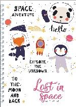 Ежедневник Lost in space (Животные-космонавты) А5, твердая обложка, 192 стр