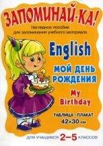 English. Мой день рождения. My Birthday. Наглядное пособие для запоминания учебного материала. Для учащихся 2-5 классов