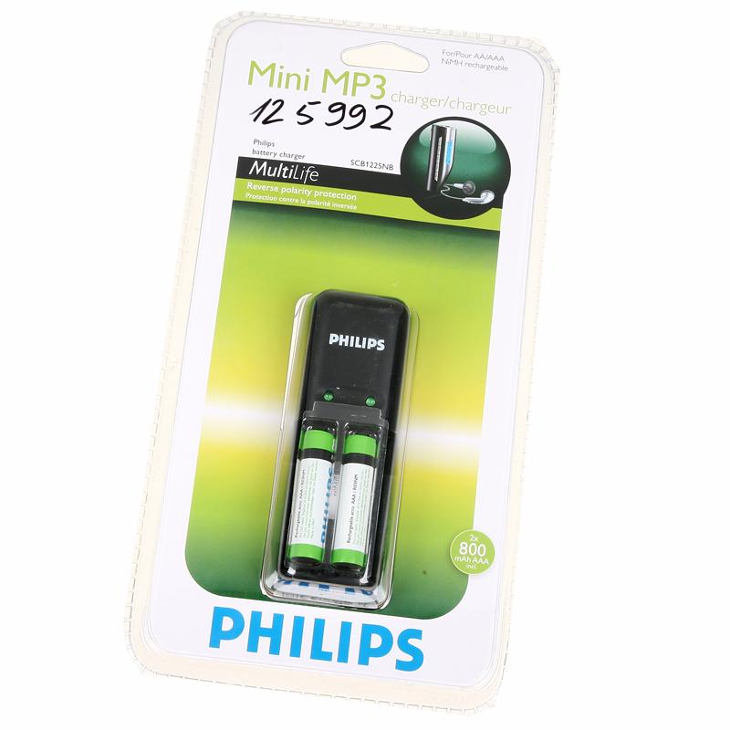 Зарядное устройство AA/AAA PHILIPS Mini SCB1225NB/12 (MP3) + аккумуляторы AAA 800 mAh 2 шт Extrem Life