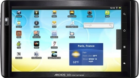 Archos 101 Internet Tablet, 16 ГБ, Android 2.2 Froyo, черный